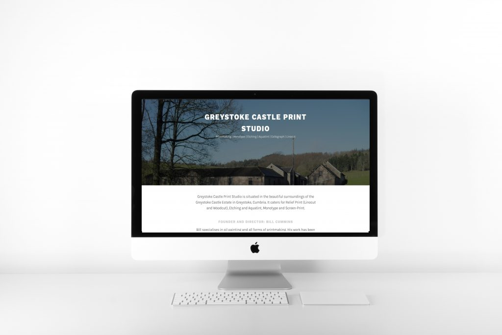 Greystoke Castle Print Studio Home Page WordPress Website Design